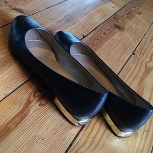 Tahari Ranma ballet flats with gold square heel